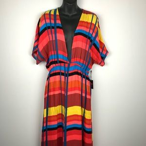 NWT Forever 21 Deep V Multi Colored Maxi Dress XL